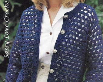Crochet Cardigan Sweater Pattern, Buttoned down Sweater Pattern, Womens  - Instant Download- Small to Plus Sizes