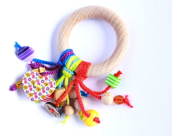 Wooden ring toy for baby, Wooden rattle, rattle toy, teething toy, wooden tassel ring
