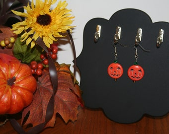 Jack-o-Lantern Pumpkin Earrings