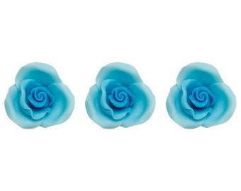 "12 Pack Light Blue 1.5"" Roses SugarSoft Cake and Cupcake Decorations"