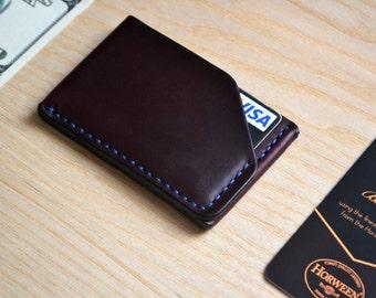 Horween leather Cardholder Wallet in Burgundy Chromexcel. Business Card Case. Handsewn
