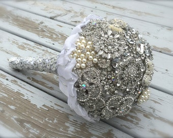 brooch bridal bouquet/bling bouquet/brooch and pearl bouquet