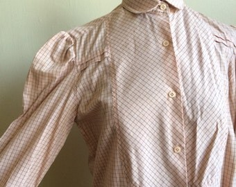 Western Pink Plaid Blouse Size Small