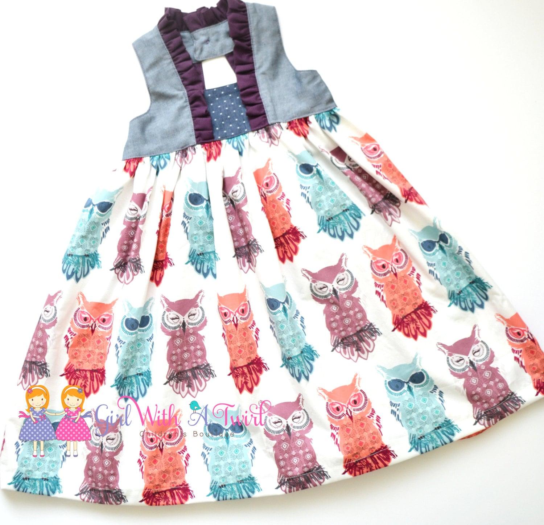 Girls Fall Dress Owl Dress Baby Girl Dresses Toddler Dress