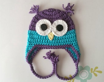Purple and Blue Owl Hat - Baby to Adult Sizes  - Purple Owl Hat - Girl's Winter Hat - Earflap - Woodland Animal Hat - Crochet Owl Hat