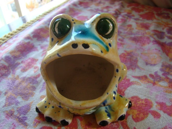 Vintage ceramic frog scrubber holder for sink 1970s sponge - Frog sponge holder kitchen sink ...
