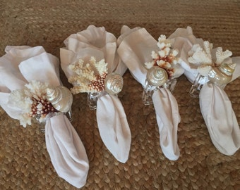 Gorgeous Seashell and Coral Napkin Rings, Wedding table decor, table centerpiece, seashell napkin holders, coral napkin holders,