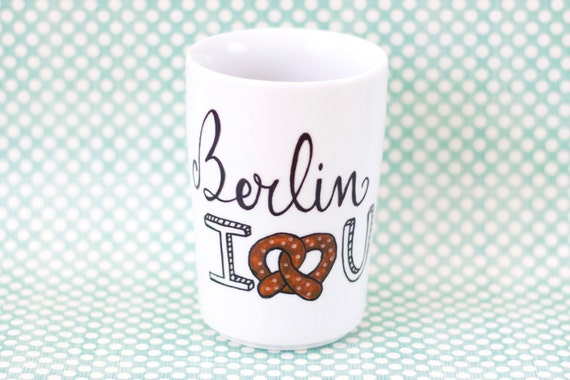 Berlin I Love You Mug Without Handle By Handwrittenmugs