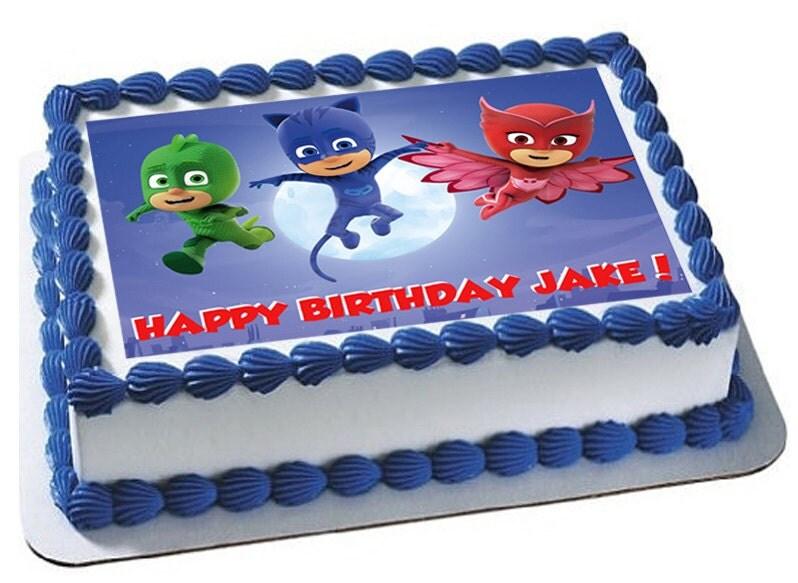 PJ MASKS Edible Image Birthday Cake And Cupcake By