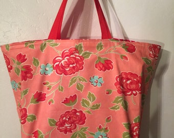 Reusable, reversible and washable shopping tote, grocery bag
