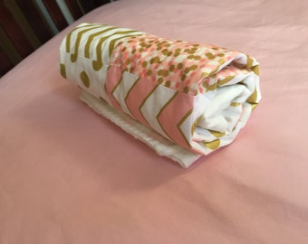 Baby Blanket - Stoller Blanket - Blanket - White, Gold and Pink Blanket