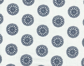 Blue Circle Flower on White Background- Bombay Collection by Red Rooster Fabrics