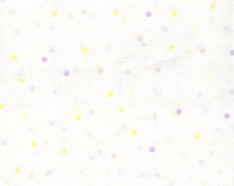 Pastel Dots on White Background- 100% Cotton Fabric