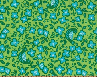 Blue & Green Birds on green background - Sundburn Gardens- Red Rooster Fabrics- 100% Cotton High Quality Quilting Fabric