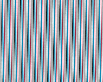 Blue, Red, Black, Gray and White Stripes- Urban Zoo Collection by Galaxy Fabrics