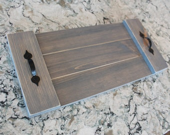 Rustic Wood Serving Tray - Hand Painted Serving Tray