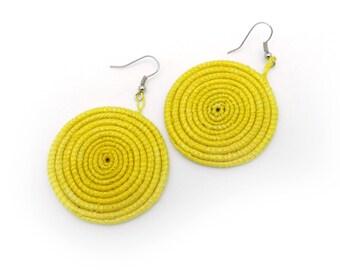 Round Handwoven Grass Earrings Lemon Yellow Natural Jewelry Made in Rwanda