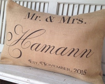 PERSONALIZED WEDDING PILLOW,Gift, Insert Included
