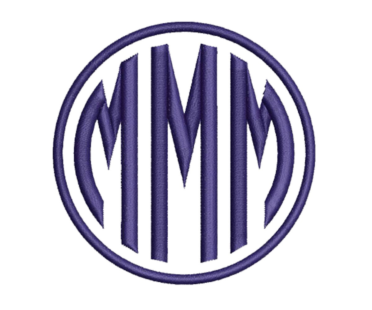Circle monogram embroidery font machine design letters
