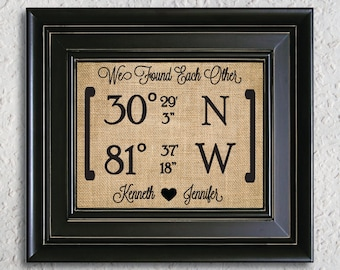 Longitude latitude print, Our Love Story sign, Our love story burlap art, We have found each other, Coordinate Burlap Print- 5J