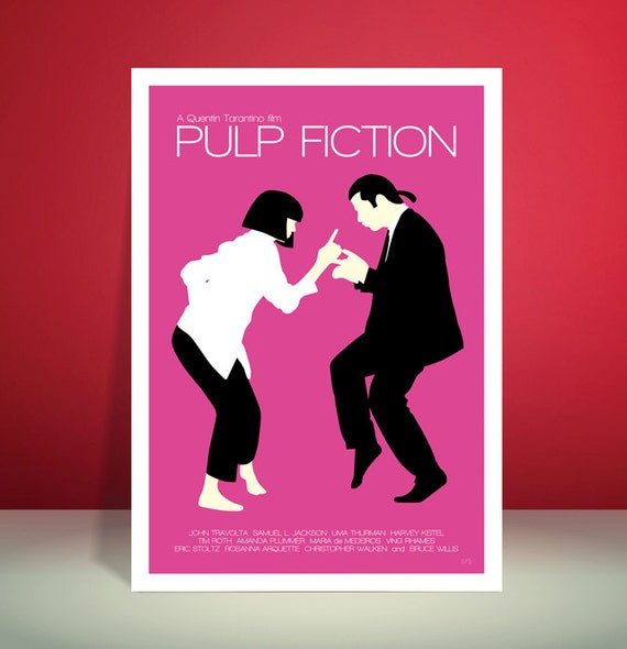 Pulp Fiction // Jack Rabbit Slim's Restaurant Dance Scene // Minimalist Movie Poster // Unique A3 Art Print