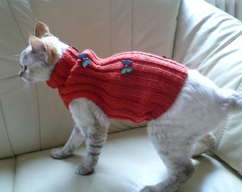 Hand knitted cat sweater jumper hand knitted sweaters for cat Sphynx Devon Rex hairless hand made