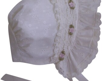 Eyelet and Ivory Lace with Pink Roses Baby Bonnet
