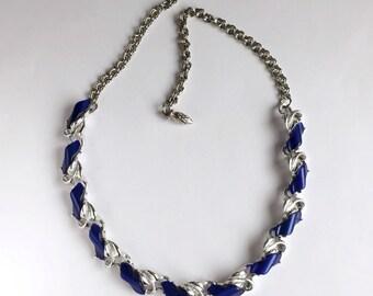 c1950 Retro Glam Blue Lucite & Silvertone Necklace