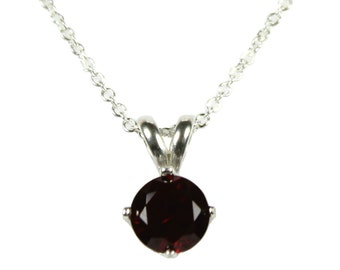 Silver Garnet Necklace 925 Sterling Pendant 6mm Red Garnet Pendant Garnet Jewelry Birthstone Necklace Birthday Gift For Her 16 or 18 Inch
