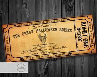 Halloween Invitation Adult / Digital Skull Invite / DIY Party