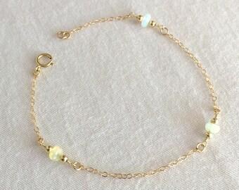 Opal Bracelet, Beads Bracelet, Opal Beads Bracelet, Bridesmaid Bracelet,Minimalist Bracelet,Dainty Bracelet,Mother's Bracelet,Child Bracelet