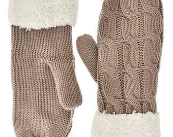 Knitted Mittens // Taupe Mittens // women Mittens // Winter Mittens