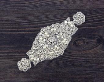Rhinestone applique, wedding applique, Silver Applique Rhinestone, Crystal rhinestone wedding applique.