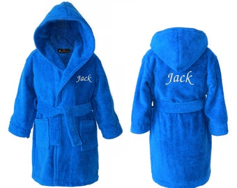 Personalised Children's Towelling Dressing Gown with Hood, Royal Blue