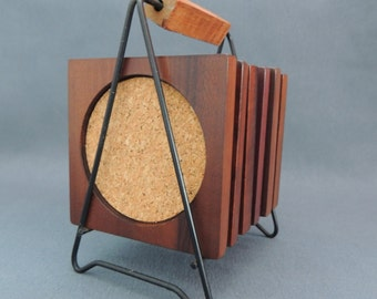 Mahogany - wood - coasters/table mats with Cork for glasses * 60 *.