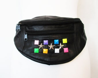 black leather bumbag,bumbags, belt bags, bag belt, cute bumbags, customised bags