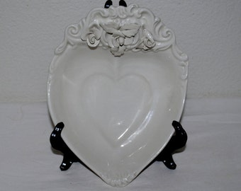 Vintage Trinket Dish,  Italian, Porcelain, Heart Shaped, Porcelain Flowers, Embossed Scrolling, Heart Within a Heart