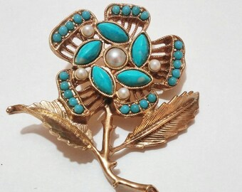 1970's turquoise flower brooch vintage costume jewelry