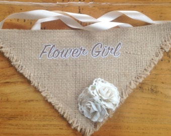 Gorgeous Vintage Inspired Wedding Flower Girl Hessian Burlap Rose Bud Neck Scarf.