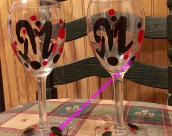 Personalized Glass,Hand Painted Glasses,Bridal Party,Wine Glasses