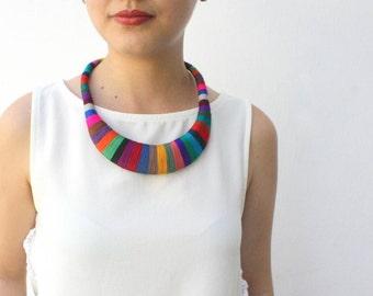 Agatha Statement necklace --dark colors--, Multicolor necklace, Tribal Necklace, Thread Wrapped Necklace, African Necklace, tribal necklace