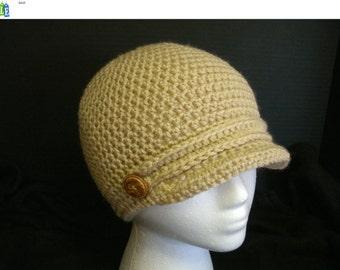 Tan Small Newsboy Hat, Winter Hat, Womens Hat, Gift for Her, Crochet Mens Hat, Gift for Him, Brimmed Beanie, Newsboy Cap, Visor Hat