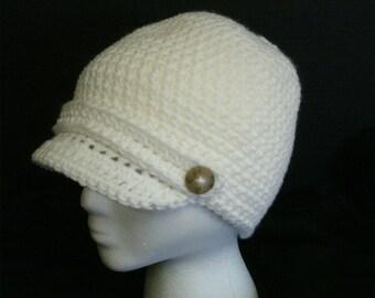 White Small Newsboy Hat, Winter Hat, Womens Hat, Gift for Her, Crochet Mens Hat, Gift for Him, Brimmed Beanie, Newsboy Cap, Visor Hat