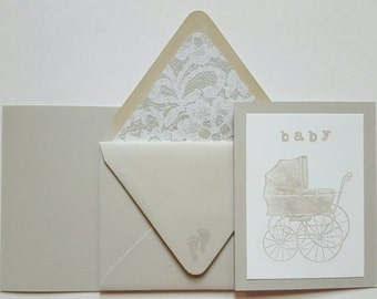 Antique Baby Stroller - Invitations or announcements available