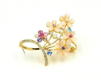 Opal Flowers Elf Ear Cuff, CZ Ear Climbers , Gold Wrap Earring, Opal Jewelry - Piercing Needed - Left Ear