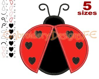 Ladybug Applique Design - 5 sizes - Machine Embroidery Design File