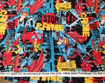 "100% cotton Quilt prints Superman UP AND AWAY Fabric / 45"" Wide / Sold by the yard"