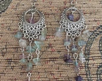 Fluorite crystal chip silver chandelier dangly earrings