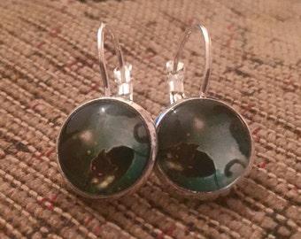 Black cat silver dangly earrings