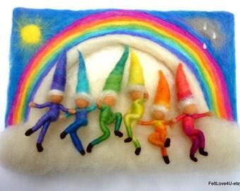 6 Toy Felt Rainbow Elves© 15cm.Removable Toys from 3D Waldorf Wool Painting 12x30cmJoyful Dancers beneath Needle felt Rainbow. Also Wall Art